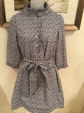 NEW LILLY PULITZER RUFFLE NAVY & WHITE DRESS / TUNIC/ TIE SIZE 0 NWTS