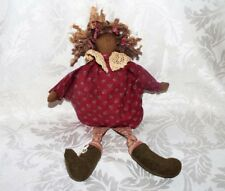 """Black Americana Rag Doll, Red printed outfit Fizzy Hair Cloth Doll 15"""""""