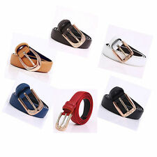 Leather Patternless Striped Belts for Women