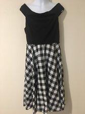VENUS Women's Side Zipper Black Checkered Sleeveless Dress - Size Medium