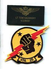 TOM ICEMAN KAZANSKY TOP GUN MOVIE F-14 TOMCAT Squadron Costume Patch Set 2