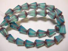 15 Czech Glass Blue Opal w/ Blue Bronze Faceted Teardrop Beads 8x5mm