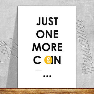 PERSONALISED GREETING CARD - Just One More Coin - arcade xbox playstation gamer