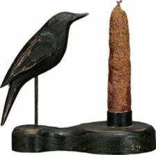 Primitive `~ Old Black Crow` Wood Carved `Candle Holder`with Grubby Candle`
