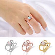 New 14K Gold Diamond Double Band Teardrop Moonstone Ring Engagement Rings