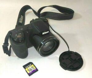 Nikon COOLPIX L320 16.1 GB Dig Camera w/16gb mem card 26x TESTED - Perfect