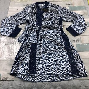 FREDERICK'S OF HOLLYWOOD Aspen Mae Satin And Lace Robe Blue Size Small $79