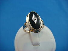 14K YELLOW GOLD ONYX AND DIAMOND VINTAGE RING 5.2 GRAMS SIZE 7.5