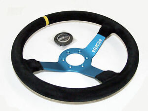 Sparco Steering Wheel - L550 Monza (350mm/63mm Dish/Suede/Blue)