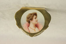 ENGLISH STERLING SILVER ENAMEL MINIATURE WOMAN'S PORTRAIT PATCH PILL SNUFF BOX