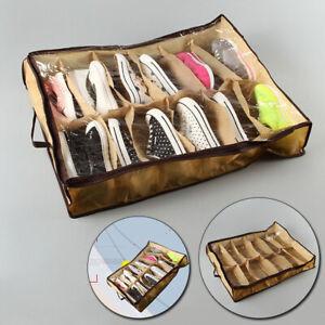12 Cells Shoes Box Non-woven Storage Bag Organizer Dustproof Home Space Saver