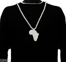 Men White Africa Cont. Pendant Wood Hip Hop Ball Beaded 36 Inch Chain Necklace