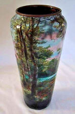 Signed ANTIQUE LIMOGES ENAMEL VASE - Figure in Wooded Landscape           (3G12)
