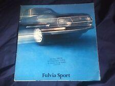1970s Lancia Fulvia Sport Coupe by Zagato large Prestige Color Brochure Prospekt