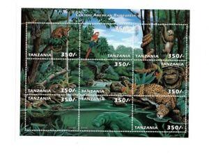 Tanzania 1999 - Central American Rainforest Animals - Sheet of 6 - MNH