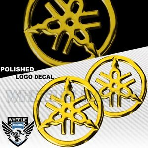 "2 X 1.5"" MOTO/BIKE 3D POLISH/SHINY EMBLEM DECAL LOGO FENDER STICKER YAMAHA GOLD"