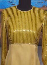 Escada Couture Sz 34 /4 Sequins Yellow Long Sleeve Blouse Silk Paillette Small