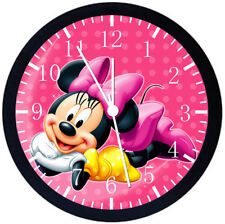 Disney Minnie Mouse Black Frame Wall Clock Nice For Decor or Gifts E123