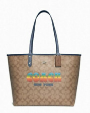 Coach F73324 Reversible City Tote Signature Khaki Rainbow LOGO