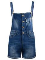 Fashion Women Blue Distressed Frayed Denim Sexy Overalls Short Shortalls On Sale
