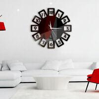 "Large 3D Acrylic Stickers Mirror Wall Clock DIY Modern Office Home Decor 13.78"""