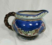 Nouveau Majolica Pottery Blue & Green Floral Pitcher CBK LTD 1991 Wanjiang China