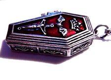 SILVER COFFIN LOCKET prayer poison box red pendant vampire Gothic necklace F6