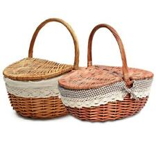 W/ Storage  Oval Handle Hamper Wicker Basket Picnic Antique Shopping Handmade