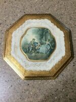 Vintage Octagon Victorian Gilt Wood Gold Leaf Wall Plaque Tole Florentia Italy