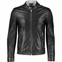 DIESEL Men's FRANKLIN Perforated Leather Jacket, Black, sizes S M L XL
