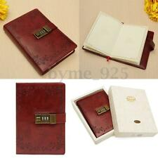 Red Rose PU Leather Diary Journal Note Book With Combination Lock 120 Sheets