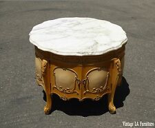 Vintage French Provincial Rococo Ornately Carved END TABLE  w White Marble Top
