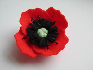 Handmade In UK - Unique Large Felt Poppie Poppies Flower Brooch Lapel Pin