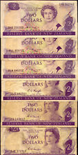 NEW ZEALAND:6 x $2 BANK NOTES:  AVERAGE CONDITION  NO  RESERVE !!