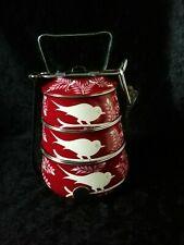 Kashmir Enamelware Hand Painted Tiffin Curry Cake Lunchbox Camping Picnics