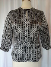 SIZE 8 - New $58.00 RAFAELLA Black & White Geometric Peplum Keyhole Top Blouse