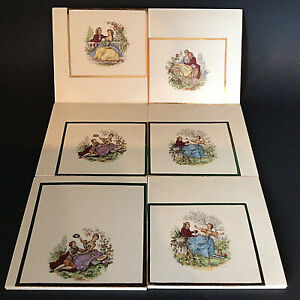 """WATTEAU ART TILES COURTING COUPLES SIGNED SET OF 6 GOLD TRIM 6 X 6"""" VINTAGE RARE"""