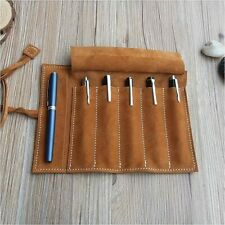 Genuine Leather Fountain Pen Roll Case Cowhide 5 Pen Holder Case Pouch