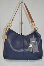 Tommy Hilfiger Navy TH Signature Leather Hobo Bag Purse $138- #UE