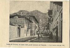 Stampa antica CAVOUR veduta del centro e campanile Torino 1893 Old antique print