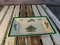 spode christmas tree holiday platter plate serving party dish rectangle candy