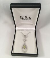 Vintage Jewellery Sterling Silver Necklace Chain Pendant Peridot White Sapphires