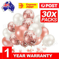 30pcs Rose Gold Confetti Balloons For Birthday Marriage Party Decoration GIFT AU