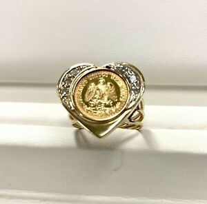 14K Gold 13MM COIN RING with a 22K MEXICAN DOS PESOS 1945 Coin with 6 Diamonds