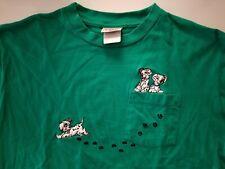 Vintage Disney Dalmations Green T-Shirt Size XL 14-16 Girl Women Pawprint Cotton