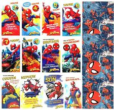 Kids SPIDERMAN Birthday Cards 3rd 4th 5th 6th 7th 8th Badge Gift Wrap Spider-man
