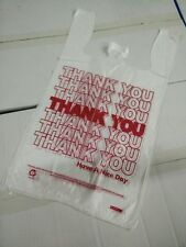 "1000 PCs 1/6 T-Shirt Bag Thank You Plastic Retail Carry Out Bags 11.5""x6""x21"""