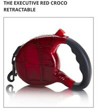 Retractable Dog Leash with Hand-Crafted Designer Crocodile Wrapped Casing