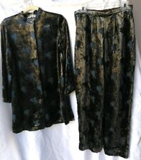 Giorgio Armani Le Collezioni Velvet Burn out Blouse Top Pants 2 piece Sz small/6