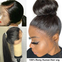 360 Lace Front Wigs Silky Straight 100% Malaysian Remy Human Hair Wig Baby Hair*